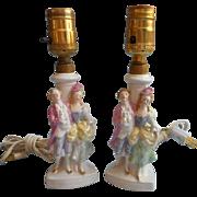 Vintage 1930s Lamps Boudoir Vanity German Pastel Luster Figurine French Lady Lord