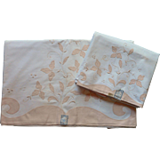 Madeira Sheet Pillowcases Set Unused Vintage 1950s Pink White