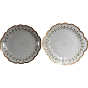 Pair Round Platters Antique China Pink Roses Garlands Czech Austria