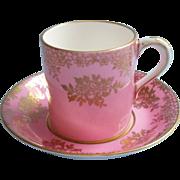 Paragon Demitasse Cup Saucer Pink Gold Vintage Bone China English