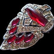 Art Deco Pin Deep Pink Glass Stones Pave Rhinestones Vintage 1930s