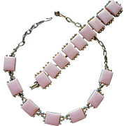 Vintage Pink Thermoset Lucite Necklace Bracelet Set Summer Fun