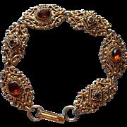 Florenza Vintage Bracelet Victorian Revival Amber Glass Ornate Antiqued Gold Finish