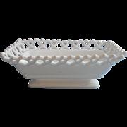 Atterbury Milk Glass Antique Lace Rim Base Dish Rectangular TLC