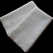 Monogram M Antique Towels Linen Damask Pair