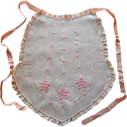 Antique Apron 1910s Pink Silk Ribbon Embroidery Lace