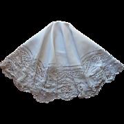 Antique Round Tablecloth Torchon Bobbin Lace Linen TLC