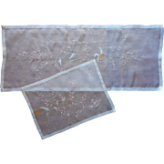 1950s Organdy Runner Tray Cloth Pink Gray Hand Embroidery Vintage Unused w Labels