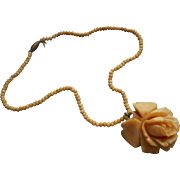 Vintage 1930s Carved Bone Rose Necklace Beads