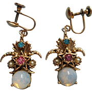 Vintage Earrings 1950s to 1960s Faux Opals Colored Stones Victorian Revival Dangle