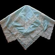 Aqua Silk Lace Tea Tablecloth Antique 1910s to 1920s Blue