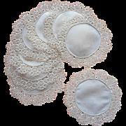 1920s Reticella Lace Linen Finger Bowl Doilies Vintage Set 8 Unused