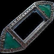 Art Deco Marcasite Green Glass Vintage Pin TLC