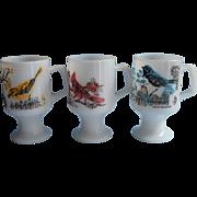 Vintage Glass Mugs Birds Anchor Hocking Pedestal Milk White