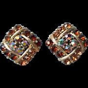 Vintage Lisner Earrings Brown Amber Color AB Rhinestones Clip Square