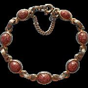 Vintage Faux Goldstone Glass Stones Bracelet Guard Chain