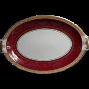 Big Platter Vintage Meito China Burgundy Much Gold Royal Service Occupied Japan