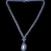 Vintage Necklace Faux Pearl Drop Little Rhinestones Chain Gunmetal Dark