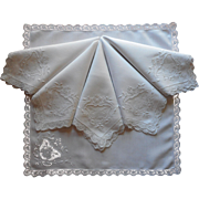 1920s Linen Lace Npkins Set 6 Vintage Cutwork Hand Embroidery