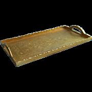 Vintage Chinese  Brass Tray Rectangular Engraved Decoration