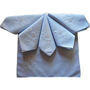 Italian Work Linen Napkins Vintage Sky Blue White Hand Embroidery