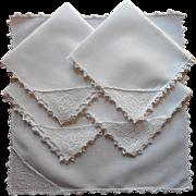 Tea Napkins Antique 1910s Roses Filet Crocheted Lace Corners Linen
