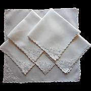 Tea Napkins Cutwork Linen Hand Embroidery Antique  1910s