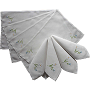 Placemats Set Napkins Vintage Linen Daisies Embroidery Luncheon