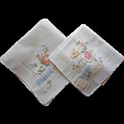 Vintage Hankies Unused Hand Embroidery Pair Original Paper Label