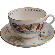 Royal Worcester Very Important Person Oversized Gentleman's Cup Saucer Boating Boats Bone Chin