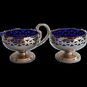 Vintage Cobalt Blue Glass Pierced Metal Frames Sugar Bowl Creamer Set