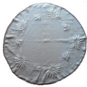 Antique Poinsettias Hand Embroidery Round Linen Topper Centerpiece Tablecloth
