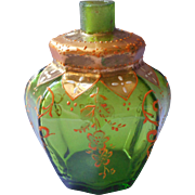 Antique Bohemian Perfume Bottle Moser Atomizer Style Enameled Glass