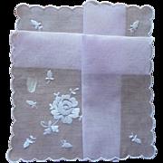 Purple Vintage Hankie Pale Lavender White Embroidry Unused