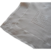 Vintage Tablecloth Rice Linen Appliqued Hand Embroidered Roses All White
