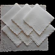 Tea Napkins Madeira Organdy Applique Linen Hand Embroidery Vintage
