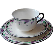Shelley Cairo 1921 Trio Cup Saucer Plate Vintage English China Purple