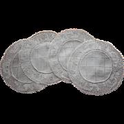 Flanders Bobbin Lace Linen Finger Bowl Doilies Antique 4