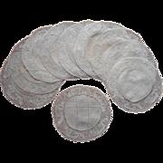 Flanders Bobbin Lace Linen Finger Bowl Doilies Antique Set 10