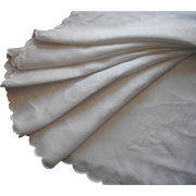 Antique Round Damask Linen Tablecloth Scalloped Hem TLC