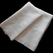 Monogram G Pair Antique Linen Damask Towels