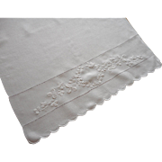 Antique Towel White Work Hand Embroidery Linen Clover Scallops
