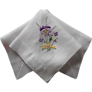 Pansies Pussywillows Hand Embroidery Vintage Hankie