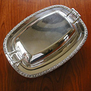 Silver Roses Serving Dish Ornate Rim Convertible Covered Vintage 1910s to 1930s
