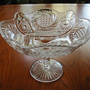 Antique Pressed Glass Pedestal Compote Dish EAPG Ideal Holiday