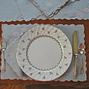 Madeira Placemats Set Set Napkins Runner Vintage Linen Appliqued Pink Gray Blue