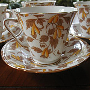 1920s Cups Saucers 6 Royal Grafton Bone China Autumn Colors
