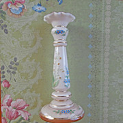 1920s Cased Glass Enameled Candlestick Vase Vintage Poland