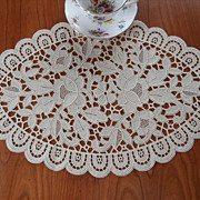 SOLD Lace Centerpiece Doily Natural Color Chemical Lace - Red Tag Sale Item