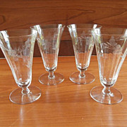 SOLD Footed Tumblers Engraved Etched Glass Vintage Optic Rib 1910s to 1930s - Red Tag Sale Ite